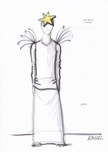 Arjan als Engel, Skizze: Jan Kocman